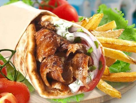Kebab with pita bread